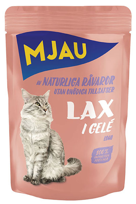 Консервы Mjau для кошек, мясные кусочки с лососем в желе, 85 г65413Консервы Mjau - это полнорационное влажное питание премиум класса для кошек всех возрастов. Готово к употреблению. Состав: мясо и мясопродукты, рыба и рыбные продукты (лосось 5%), минеральные вещества, инулин цикория (0,1%). Добавки на кг: Витамин D3 250 МE, витамин Е 15 мг, таурин 445 мг, сульфат меди (II) пентагидрат 4мг; марганца (II) сульфат, моногидрат 3,2 мг; сульфат цинка, моногидрат 43,3 мг. Анализ: белок 8,5%, жир 4,5%, сырая клетчатка 0,5%, минеральные вещества (сырая зола) 2,5%, влага 82%. Энергетическая ценность: 292 кДж/100 г. Дневной рацион для взрослой кошки весом 4 кг: 250-300г.Товар сертифицирован.