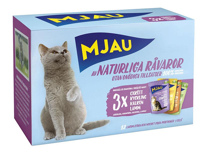 Набор консервов Mjau Мясной микс для кошек, мясные кусочки в желе, 12 шт х 85 г sheba appetito ломтики в желе с говядиной и кроликом для кошек 85г 10161708