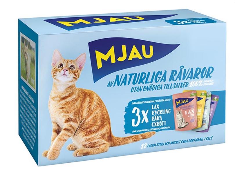 Корм консервированный Mjau  Мясные кусочки в желе , для кошек, мясной и рыбный микс, 85 г, 12 шт
