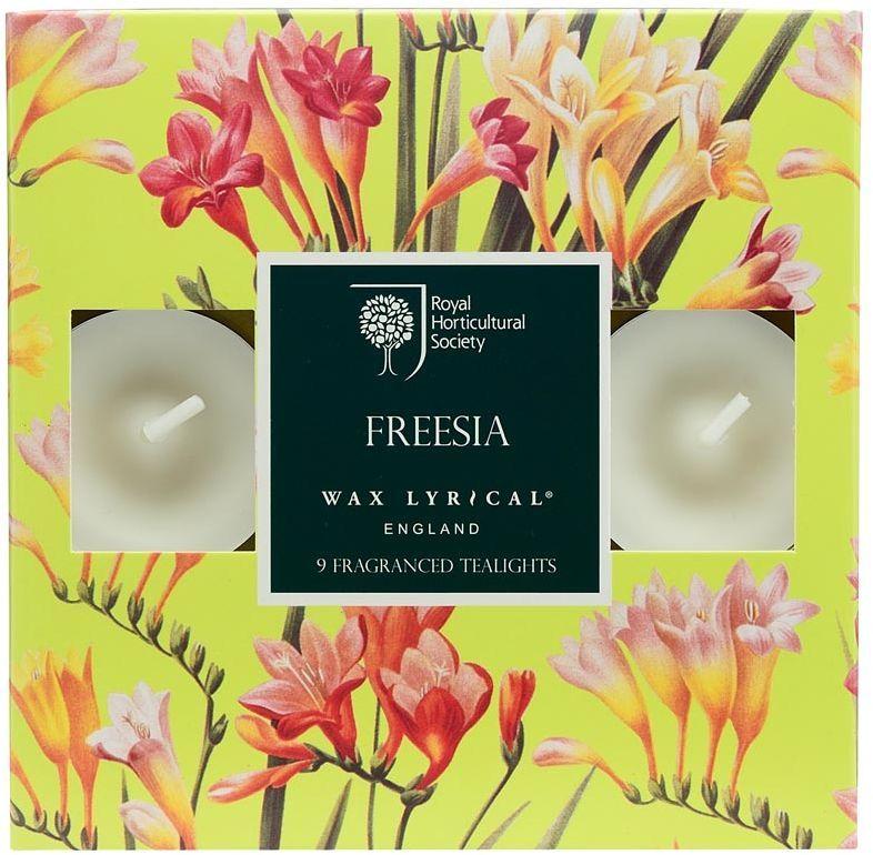 Набор ароматических чайных свечей Wax Lyrical Цветущая фрезия 9 штRH5112Цветочный аромат, сочетающий в себе ноты фрезии, гардении и орхидеи.