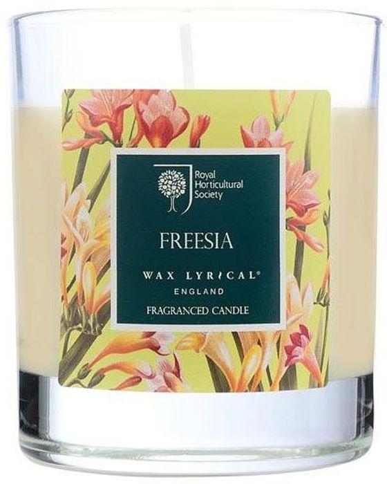 Свеча ароматическая Wax Lyrical Цветущая фрезия, 7,5 х 7,5 х 9,3 смRH5212Цветочный аромат, сочетающий в себе ноты фрезии, гардении и орхидеи.