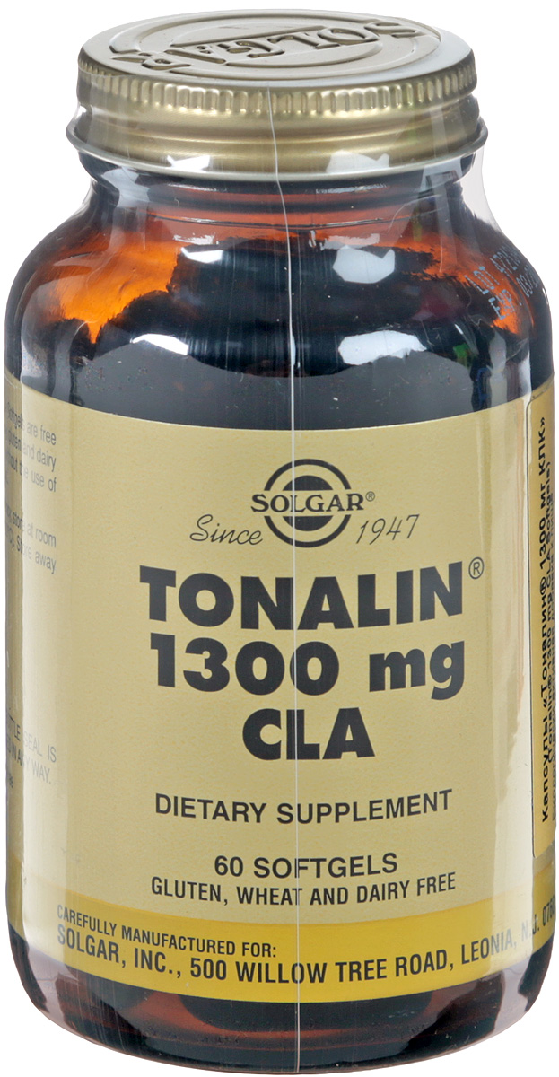 Витамины для похудения Solgar Тоналин 1300 мг КЛК, 60 капсул витамины а и d в жире из печени норвежской трески 100 капсул solgar витамины