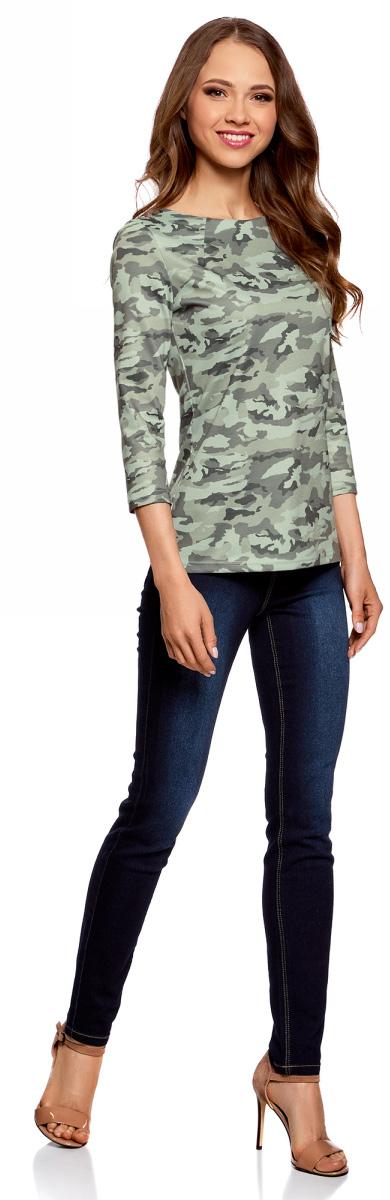 Блузка женская oodji Ultra, цвет: светло-зеленый, темно-серый. 14201026/18610/6025O. Размер XL (50) блузка кардиганом