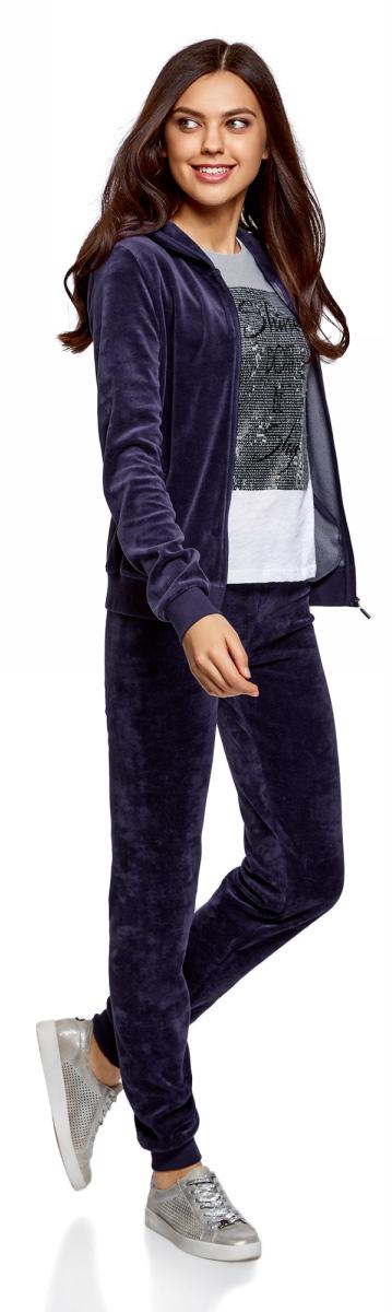 Брюки спортивные женские oodji Ultra, цвет: темно-фиолетовый. 16701051B/47883/8801N. Размер S (44)16701051B/47883/8801NЖенские спортивные брюки oodji изготовлены из качественной смесовой ткани. Модель выполнена с широким эластичным поясом на талии и с завязками. Низы брючин дополнены широкими манжетами.