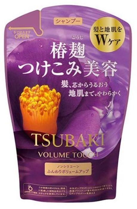 Shiseido Tsubaki Volume Touch Шампунь для волос для придания объема с маслом камелии, 380 мл441389Шампунь содержит удивительное по свойствам масло камелии, обогащён витаминами С и группы В, которые восстанавливают структуру волос и придают им силу и блеск. Таурин придает энергию и жизненную силу волосам, восстанавливает внутренние связи волоса. Благодаря этому в результате применения шампуня у Вас упругие и эластичные волосы, с большей пышностью и объемом. Шампунь обладает мягким ароматом листьев камелии.