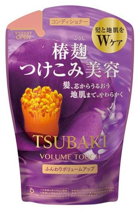 Shiseido Tsubaki Volume Touch Кондиционер для волос для придания объема с маслом камелии, 380 мл441402Кондиционер содержит удивительное по свойствам масло камелии, обогащён витаминами С и группы В, которые восстанавливают структуру волос и придают им силу и блеск. Таурин придает энергию и жизненную силу волосам, восстанавливает внутренние связи волоса. Благодаря этому в результате применения кондиционера у Вас упругие и эластичные волосы, с большей пышностью и объемом. Кондиционер обладает антистатическим действием, предохраняет волосы, обеспечивает легкость при расчёсывании. Обладает мягким ароматом листьев камелии.