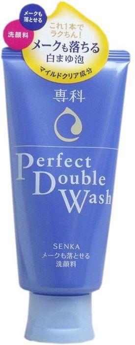 Shiseido Senka Perfect Double Wash Пенка для умывания и снятия макияжа с гиалуроновой кислотой и протеинами шелка, 120 г2710При помощи входящих в состав ингредиентов мягкая и нежная пенка выполняет двойную функцию: снимает макияж и просто очищает лицо. Поэтому, пенку можно использовать как средство для снятия макияжа, так и просто как средство для умывания. Не сушит кожу лица, сохраняя гидролипидный баланс, благодаря содержащимся в составе гиалуроновой кислоте и протеинам шелка. Не содержит красителей. Обладает лёгким ароматом.