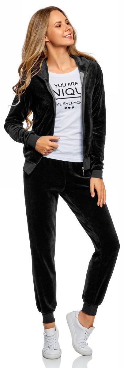 Брюки спортивные женские oodji Ultra, цвет: черный. 16701052B/47883/2900N. Размер XXS (40) брюки спортивные женские oodji ultra цвет темно синий 16701056b 47883 7900n размер xxs 40