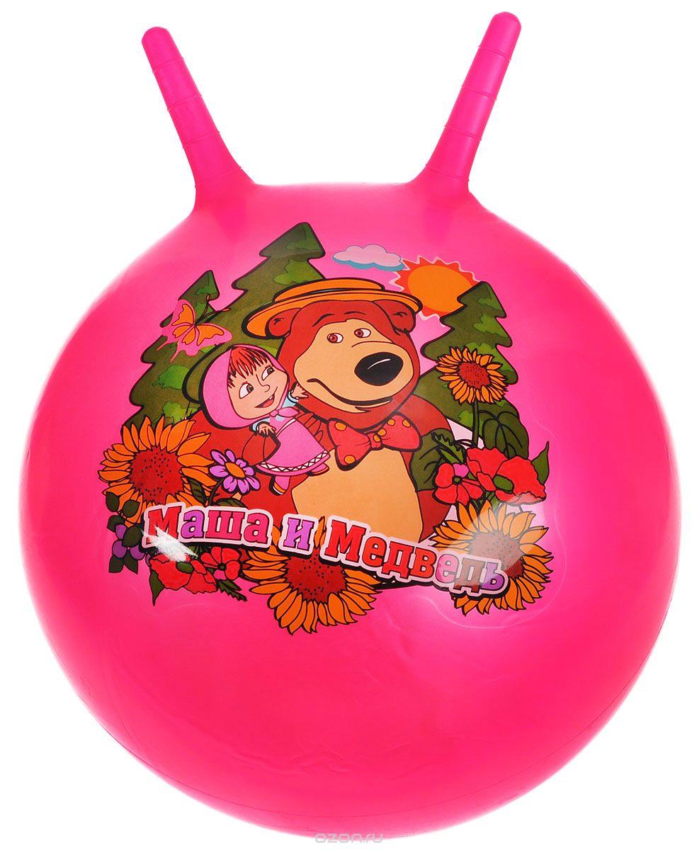 Играем вместе Мяч-прыгунок Маша и Медведь с рожками цвет фуксия 45 см