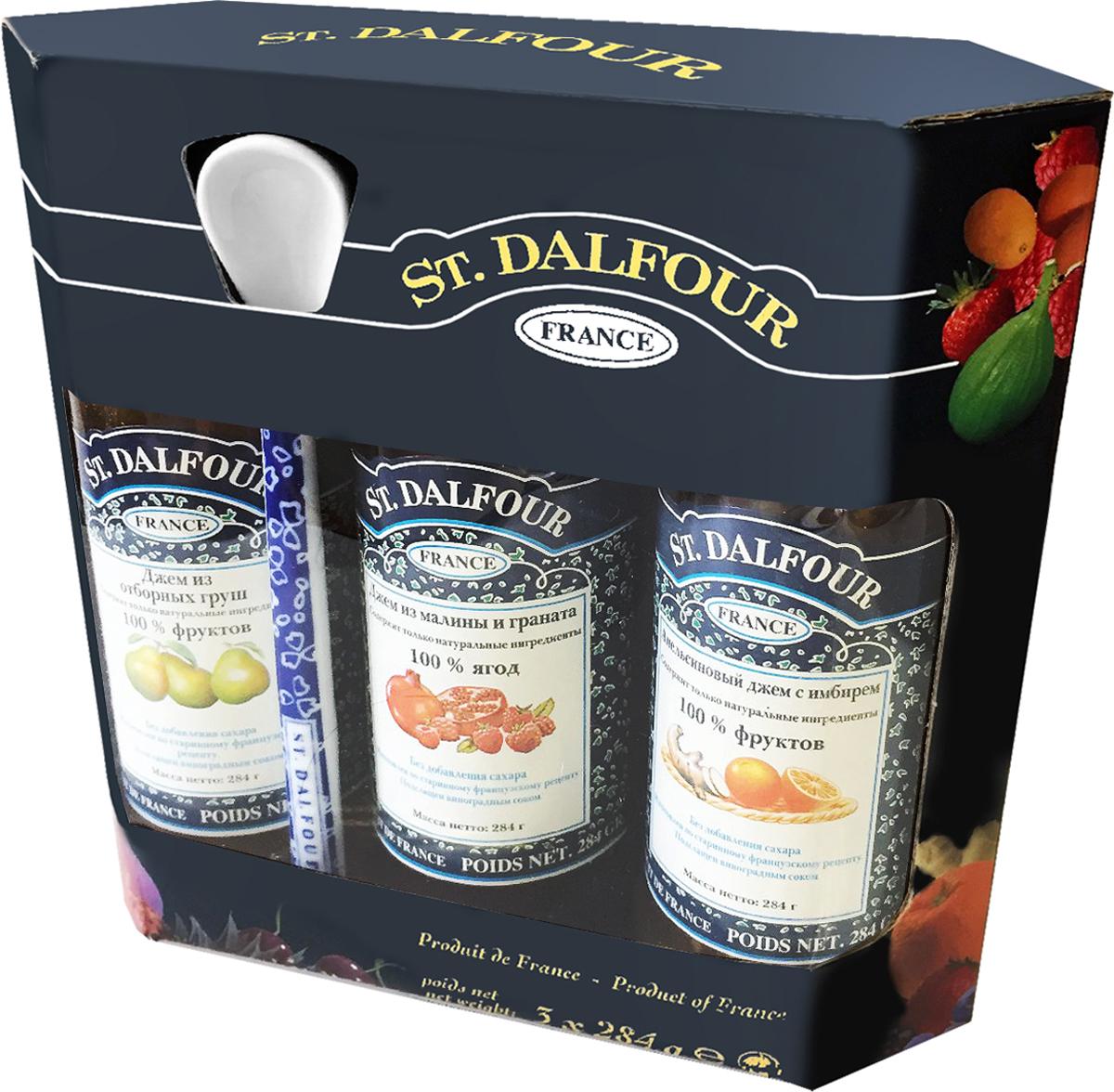 St. Dalfour подарочный набор 3 джема апельсин и имбирь, малина и гранат, отборная груша, 852 г st dalfour джем малина и гранат 284 г