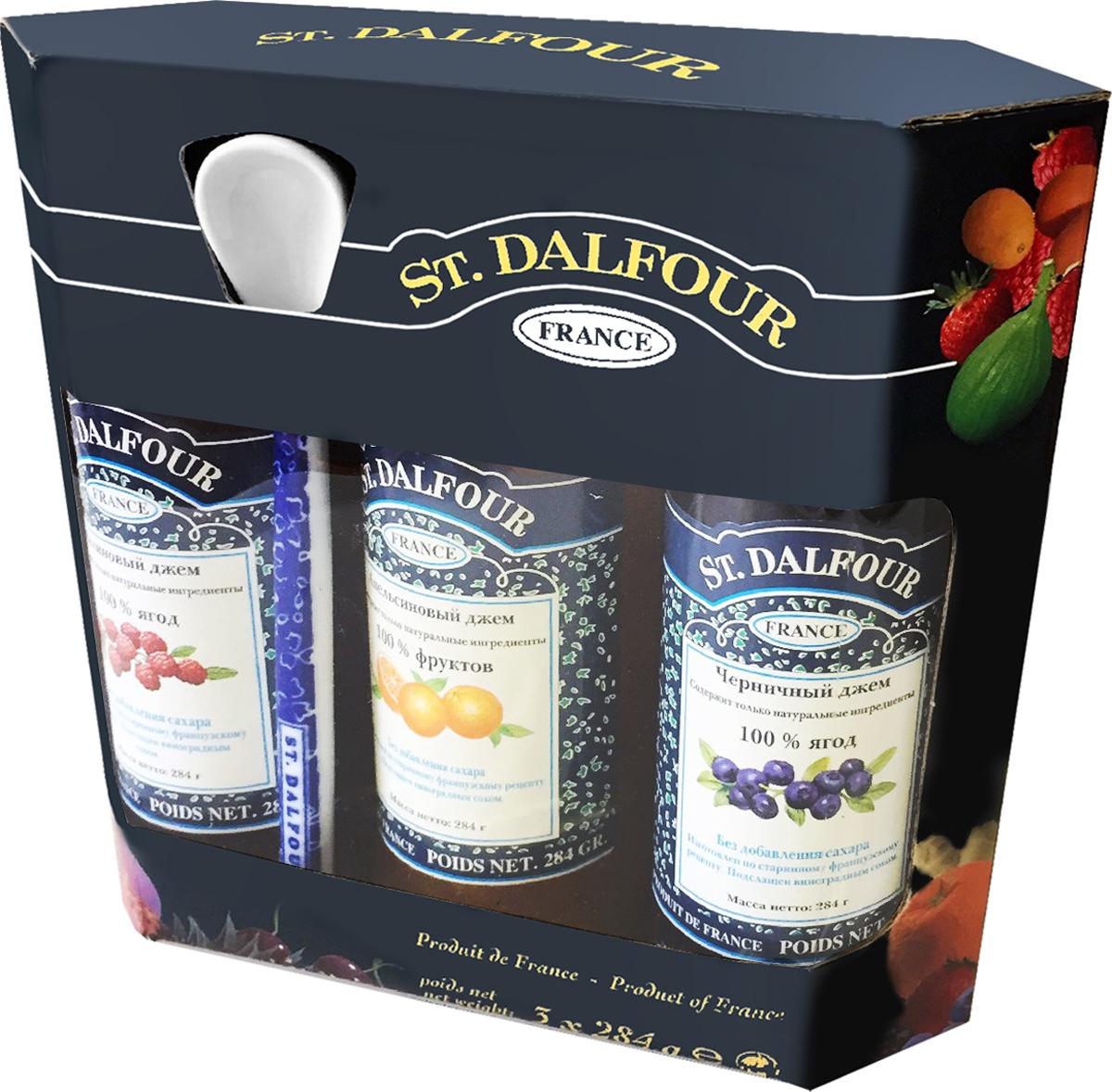 St. Dalfour подарочный набор 3 джема черника, малина, апельсин, 852 г st dalfour джем малина и гранат 284 г