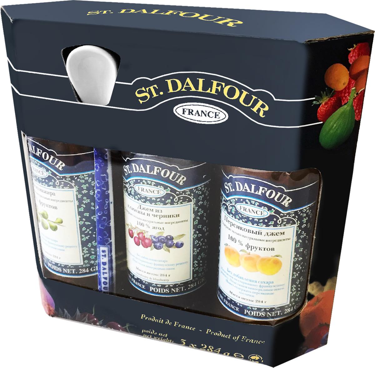 цены St. Dalfour подарочный набор 3 джема инжир, персик, клюква и черника, 852 г