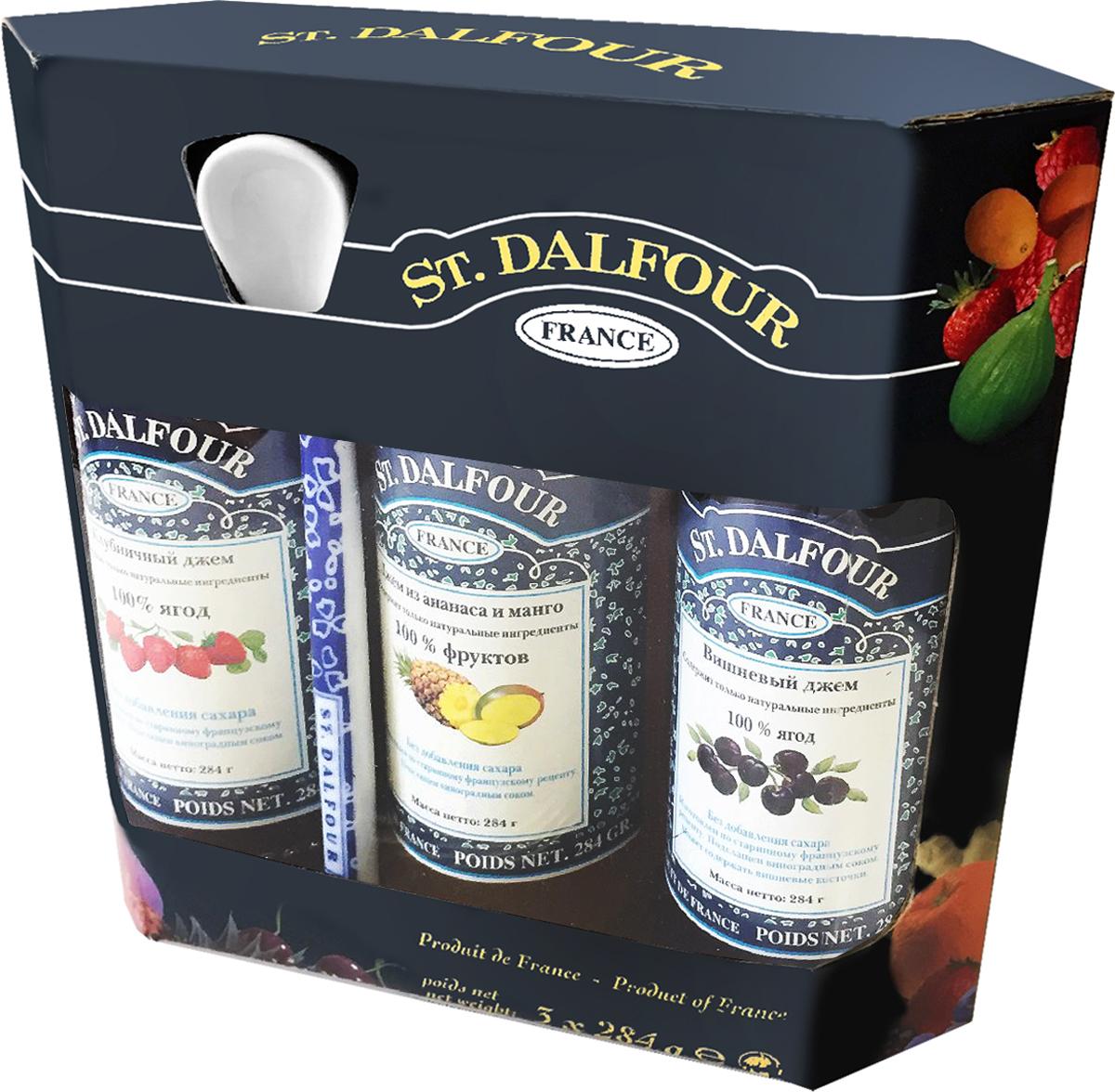 St. Dalfour подарочный набор 3 джема клубника, ананас и манго, вишня, 852 г st dalfour джем кумкват 284 г