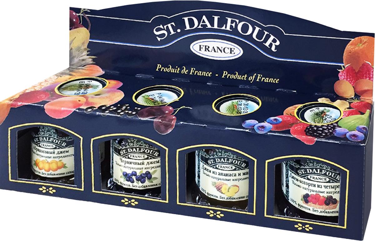 St. Dalfour подарочный набор 4 джема черника, ананас и манго, ассорти из 4 ягод, абрикос, 112 г kabrita молочная смесь kabrita 1 gold 0 6 м 800 г на основе козьего молока