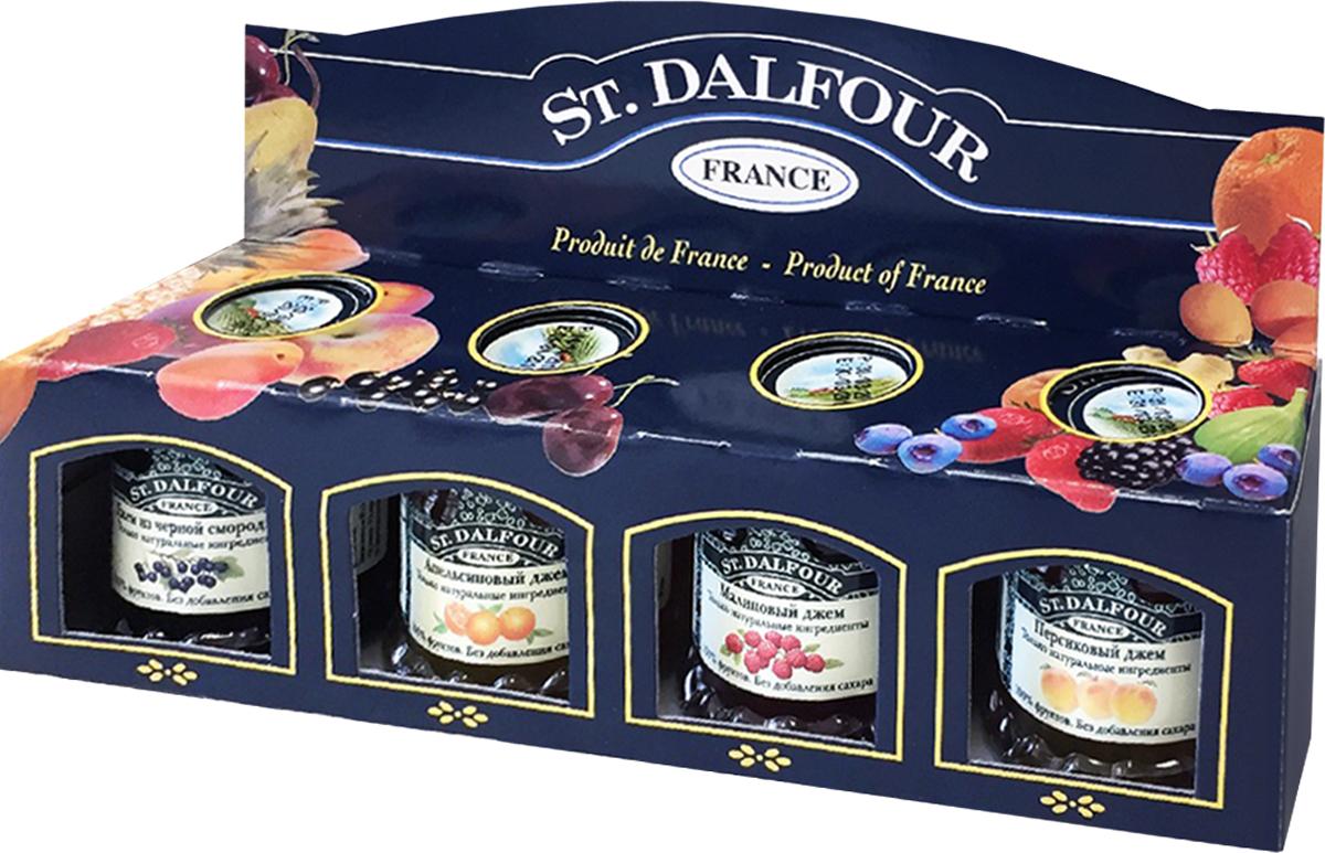 St. Dalfour подарочный набор 4 джема персик, малина, апельсин, черная смородина, 112 г st dalfour джем малина и гранат 284 г