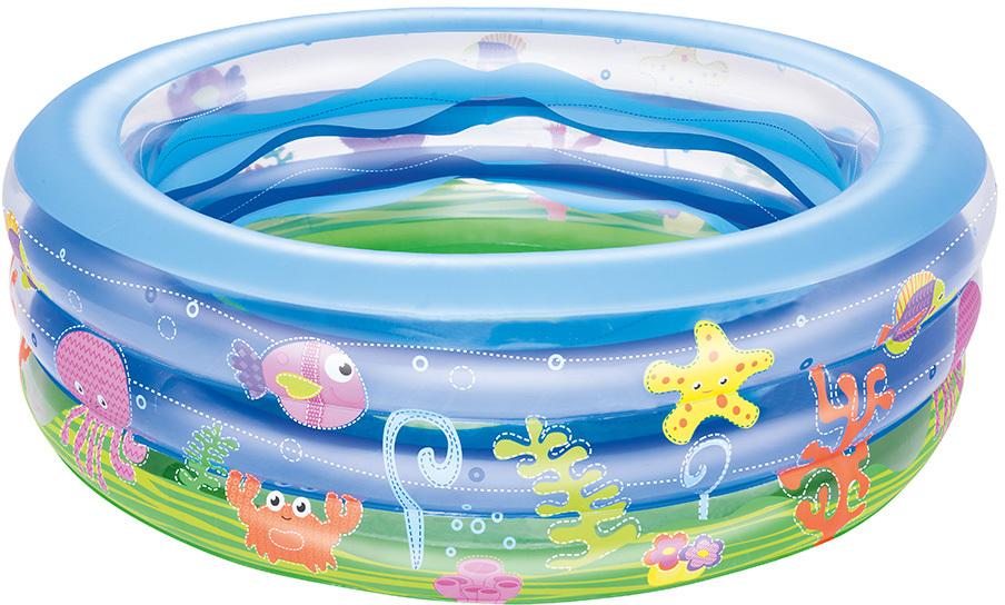 Bestway Бассейн надувной Прозрачная волна. 5102951029Круглый надувной бассейн Bestway Прозрачная волна идеально подойдет для детского и семейного отдыха на загородном участке. Бассейн изготовлен из прочного и испытанного винила. Бассейн состоит из 3 колец одинакового размера, имеет расширенные боковые стенки. Комфортный дизайн бассейна и приятная цветовая гамма сделают его не только незаменимым атрибутом летнего отдыха, но и оригинальным дополнением ландшафтного дизайна участка.В комплект с бассейном входит заплата для ремонта в случае прокола.