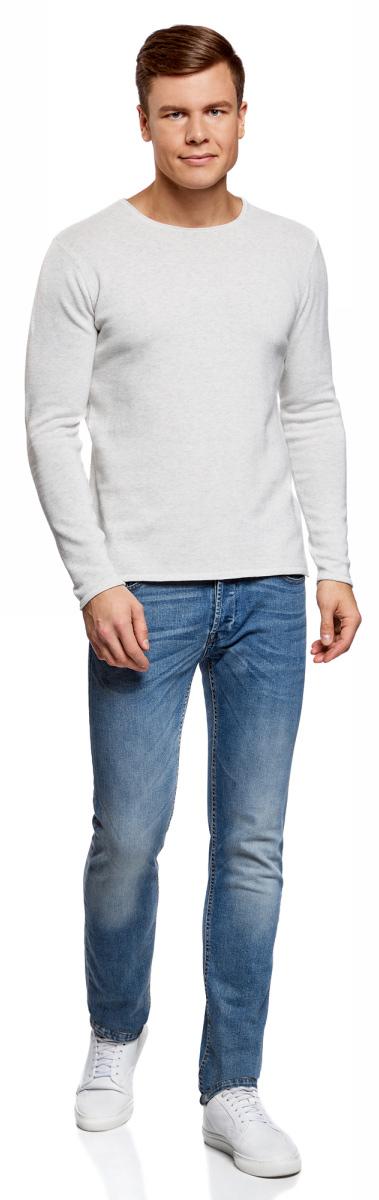 Джемпер мужской oodji Lab, цвет: светло-серый меланж. 4L112171M/21702N/2000M. Размер XXL (58/60) футболка мужская oodji lab цвет светло серый 5l611378m 25244n 2075p размер xxl 58 60