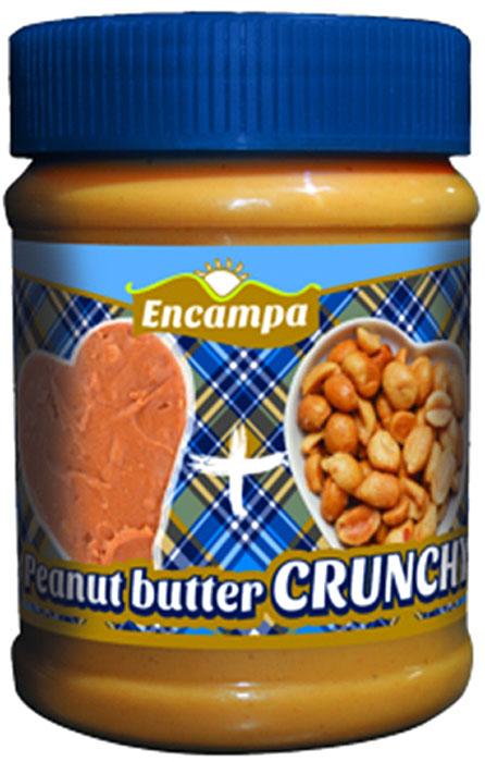 Encampа арахисовая паста кранчи c кусочками арахиса, 350 г00000040195Арахисовая паста Encampа подходит тем, кто следит за своим здоровьем. Паста производится по уникальной рецептуре. Секрет ее вкуса заключается в натуральности всех ингредиентов, отсутствием в составе холестерина, транс-жиров и вредных насыщенных жиров. Вся продукция прошла лабораторные и бактериологические исследования.