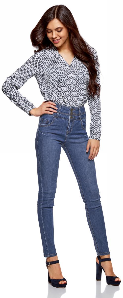 Джинсы женские oodji Ultra, цвет: голубой джинс. 12104053-1B/18831/7000W. Размер 25-32 (40-32) джинсы женские oodji ultra цвет темно синий джинс 12104043 6b 46260 7900w размер 27 32 44 32