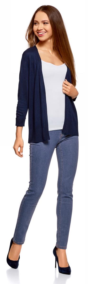 Джинсы женские oodji Ultra, цвет: синий джинс. 12104060-3B/46260/7500W. Размер 28-32 (46-32)12104060-3B/46260/7500WЖенские джинсы-скинни oodji изготовлены из качественного материала на основе хлопка. Джинсы застегиваются на пуговицу в поясе и ширинку на застежке-молнии, дополнены шлевками для ремня. Спереди модель дополнена двумя втачными карманами, а сзади - двумя накладными карманами.