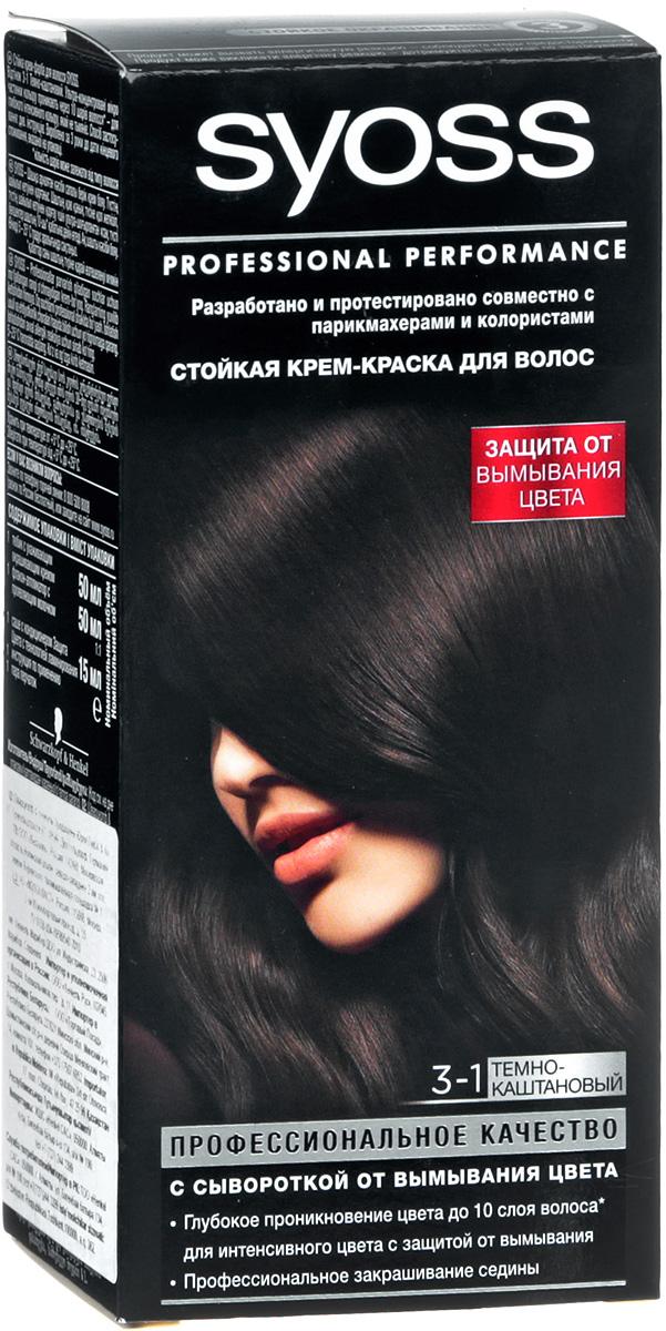 Syoss Color Краска для волос оттенок 3-1 Темно-каштановый, 115 мл9393112 Уважаемые клиенты! Обращаем ваше внимание на то, что упаковка может иметь несколько видов дизайна.Поставка осуществляется в зависимости от наличия на складе.