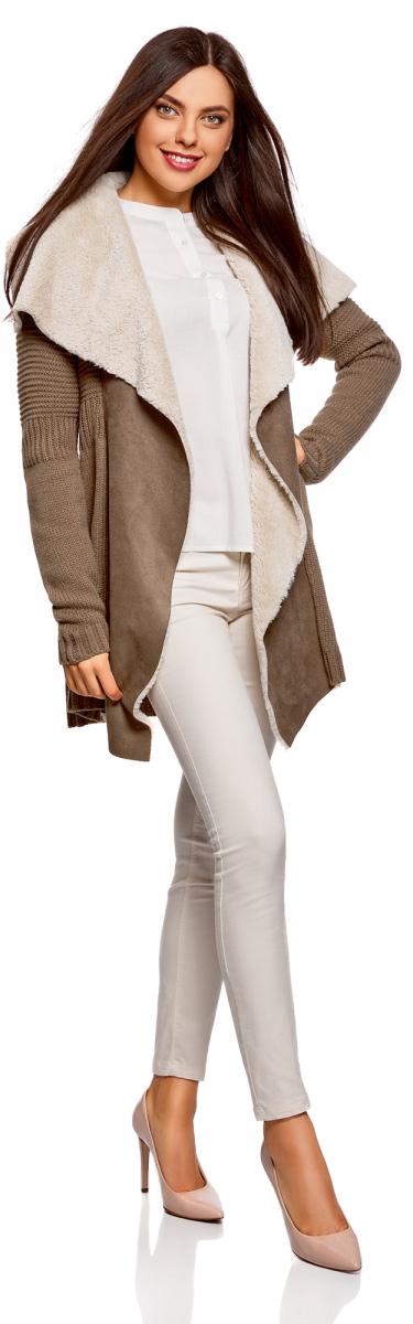 Кардиган женский oodji Collection, цвет: коричневый. 73205193-1/31328/3700N. Размер M (46) женский кардиган 013a56