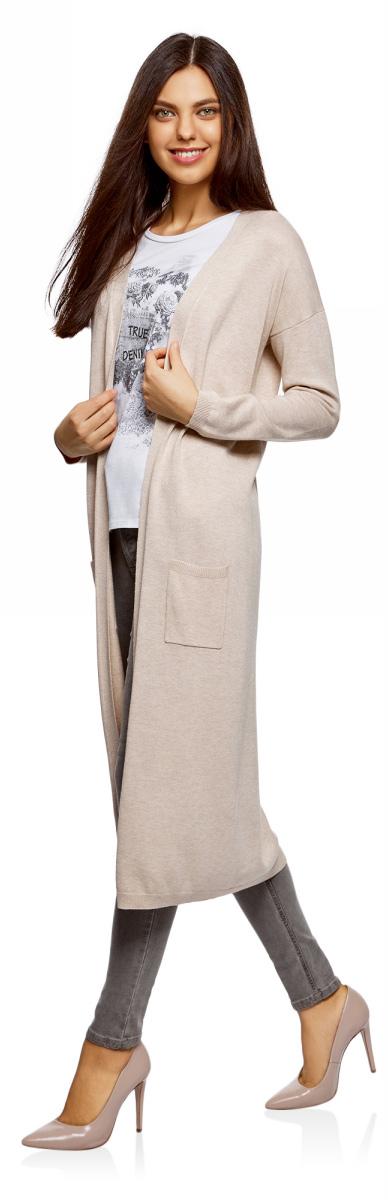 Кардиган женский oodji Ultra, цвет: бежевый, меланж. 63212505B/18239/3301M. Размер XS (42)63212505B/18239/3301MТрикотажный кардиган oodji изготовлен из качественного смесового материала. Удлиненная модель выполнена с длинными рукавами и без застежки. Спереди расположены накладные карманы, низ изделия и манжеты рукавов связаны резинкой.