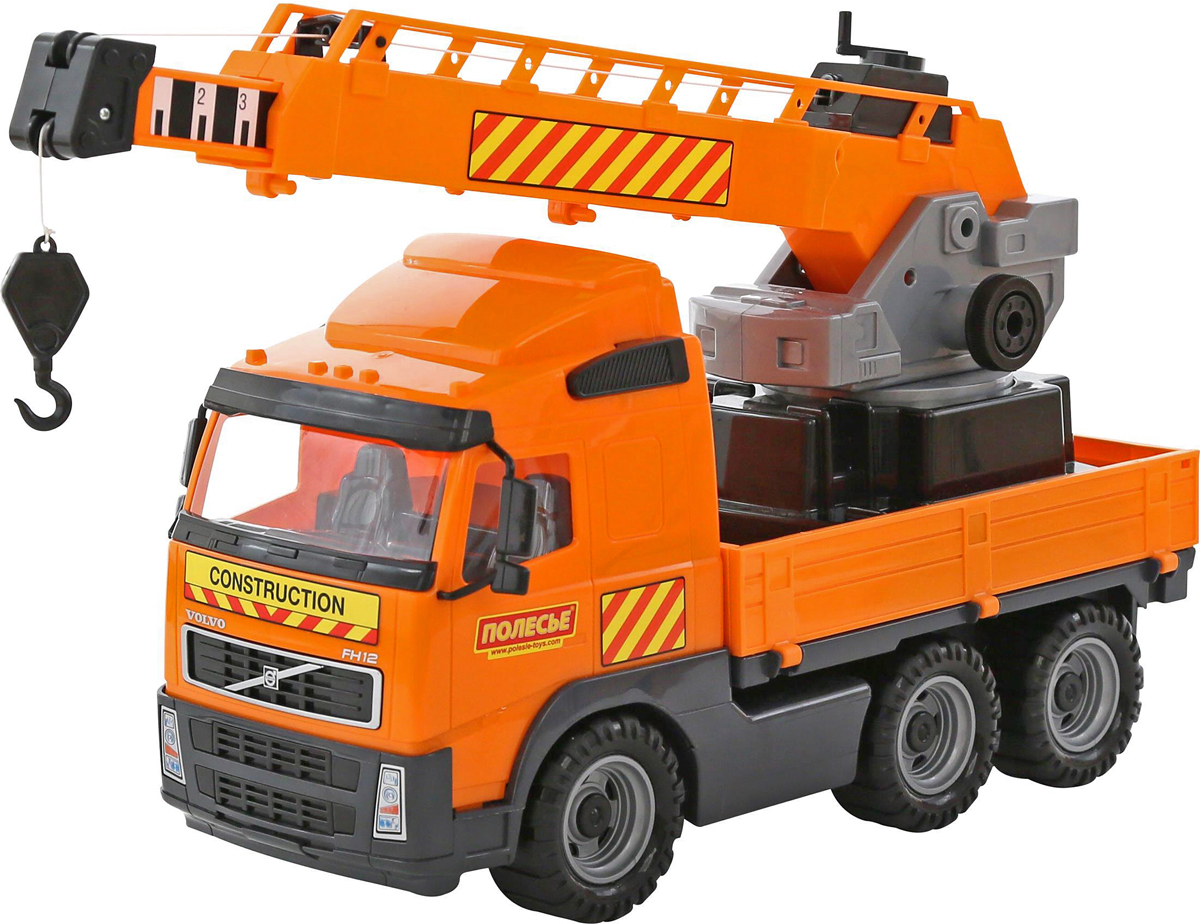 Полесье Автокран Volvo 58324 пламенный мотор машинка инерционная volvo пожарная охрана