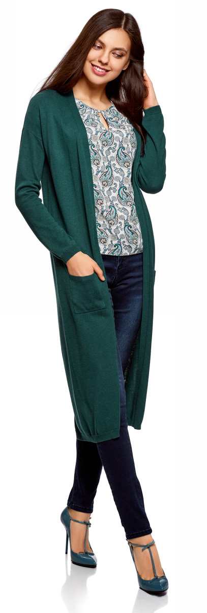 Кардиган женский oodji Ultra, цвет: темно-изумрудный. 63212505B/18239/6E00N. Размер S (44)63212505B/18239/6E00NТрикотажный кардиган oodji изготовлен из качественного смесового материала. Удлиненная модель выполнена с длинными рукавами и без застежки. Спереди расположены накладные карманы, низ изделия и манжеты рукавов связаны резинкой.