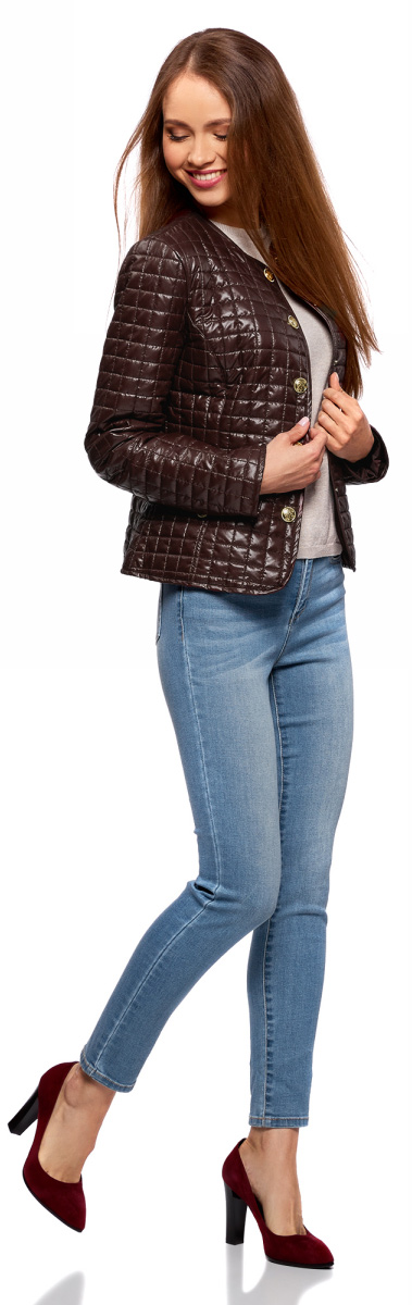 Куртка женская oodji Ultra, цвет: бордовый. 10200077-3/35889/4900N. Размер 40 (46-170)10200077-3/35889/4900NСтеганая куртка oodji изготовлена из полиэстера. Модель с круглым вырезом горловины застегивается на кнопки. Спереди расположены врезные карманы.