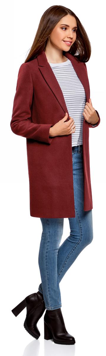 Пальто женское oodji Ultra, цвет: бордовый. 10103019/45628/4903N. Размер 42 (48-170)10103019/45628/4903NСтильное женское пальто oodji Ultra выполнено из полиэстера с добавлением вискозы и полиуретана. Подкладка изготовлена из тонкой принтованной ткани. Модель с отложным воротником с лацканами и длинными рукавами застегивается на пуговицу. Спереди расположены два прорезных кармана. Пальто украшено фирменной пластиной.