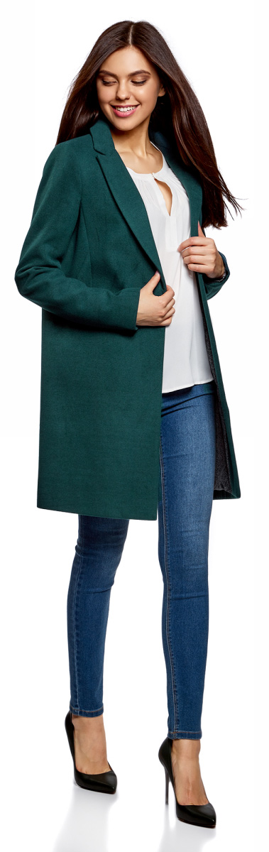 Пальто женское oodji Ultra, цвет: морская волна. 10103019/45628/6C00N. Размер 42 (48-170)10103019/45628/6C00NСтильное женское пальто oodji Ultra выполнено из полиэстера с добавлением вискозы и полиуретана. Подкладка изготовлена из тонкой принтованной ткани. Модель с отложным воротником с лацканами и длинными рукавами застегивается на пуговицу. Спереди расположены два прорезных кармана. Пальто украшено фирменной пластиной.