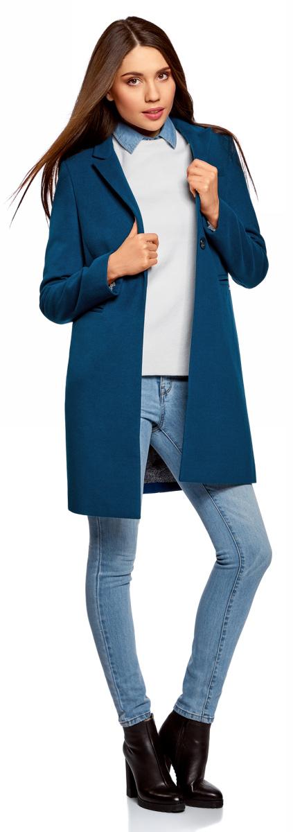 Пальто женское oodji Ultra, цвет: темно-синий. 10103019/45628/7901N. Размер 38 (44-170)10103019/45628/7901NСтильное женское пальто oodji Ultra выполнено из полиэстера с добавлением вискозы и полиуретана. Подкладка изготовлена из тонкой принтованной ткани. Модель с отложным воротником с лацканами и длинными рукавами застегивается на пуговицу. Спереди расположены два прорезных кармана. Пальто украшено фирменной пластиной.