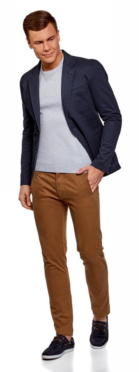 Пиджак мужской oodji Basic, цвет: темно-синий. 2B510006M/46845N/7900N. Размер 46-182
