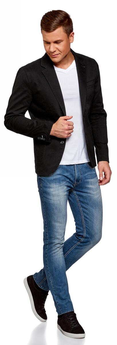 Пиджак мужской oodji Basic, цвет: черный. 2B510006M/46845N/2900N. Размер 52-1822B510006M/46845N/2900NМужской пиджак от oodji выполнен из хлопка с добавлением эластана. Модель с карманами, лацканами и длинными рукавами застегивается на пуговицы. Низы рукавов дополнены пуговицами, на локтях - декоративные заплатки.