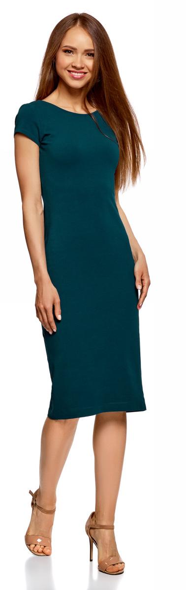 Платье oodji Collection, цвет: бирюзовый. 24001104-5B/47420/7400N. Размер S (44) платье oodji collection цвет голубой белый горох 24001082 2 47420 7010d размер l 48