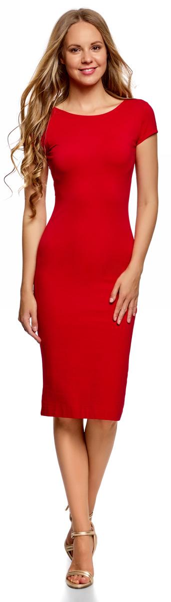 Платье oodji Collection, цвет: красный. 24001104-5B/47420/4500N. Размер M (46)24001104-5B/47420/4500NСтильное платье oodji изготовлено из качественного материала на основе хлопка. Облегающая модель с круглой горловиной и короткими рукавами. Спинка выполнена с глубоким круглым вырезом.