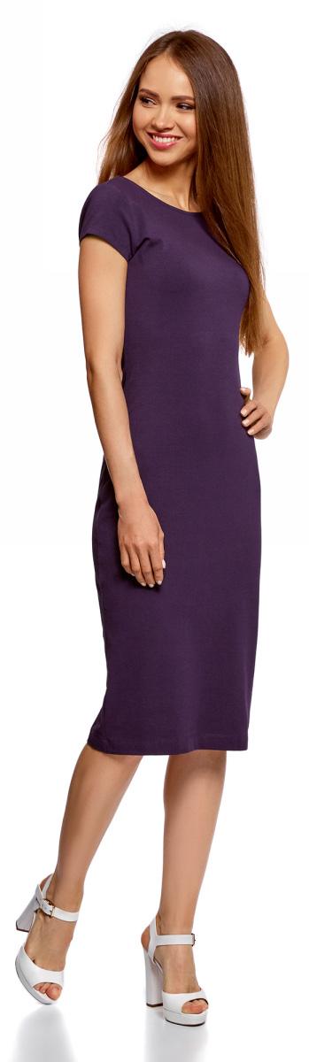 Платье oodji Collection, цвет: темно-фиолетовый. 24001104-5B/47420/8801N. Размер XXS (40)24001104-5B/47420/8801NСтильное платье oodji изготовлено из качественного материала на основе хлопка. Облегающая модель с круглой горловиной и короткими рукавами. Спинка выполнена с глубоким круглым вырезом.