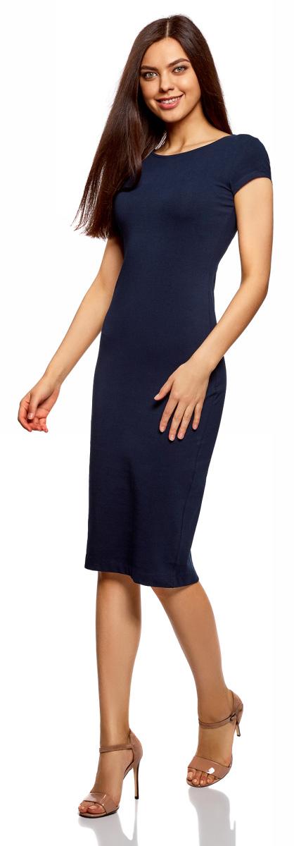 Платье oodji Collection, цвет: темно-синий. 24001104-5B/47420/7900N. Размер S (44)24001104-5B/47420/7900NСтильное платье oodji изготовлено из качественного материала на основе хлопка. Облегающая модель с круглой горловиной и короткими рукавами. Спинка выполнена с глубоким круглым вырезом.