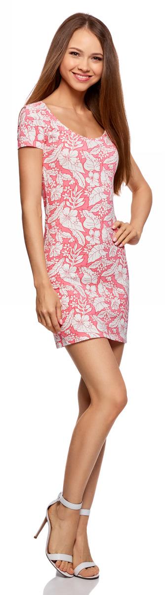 Платье oodji Ultra, цвет: розовый, кремовый. 14001182/47420/4130F. Размер XXS (40)14001182/47420/4130FБазовое облегающее платье с большим вырезом. Модель длиной ниже середины бедра. Короткий втачной рукав с двойной отстрочкой. Широкая круглая горловина отделана бейкой. Благодаря вырезу платье легко надевать. Мягкий трикотаж из натурального хлопка с незначительным добавлением эластана дышит, хорошо тянется и плотно облегает фигуру. Платье приятно для тела и не стесняет движений. Простой классический крой повторяет очертания силуэта. Облегающее платье прекрасно подойдет для фигур разного типа. Короткое трикотажное платье просто незаменимо в любом гардеробе. В нем можно пойти на дружескую встречу, прогулку по вечернему городу, в кино или кафе. В прохладную погоду сверху можно надеть жакет или укороченную куртку из кожи или замши. С платьем отлично сочетается обувь на каблуке - туфли-лодочки, босоножки, сандалии, ботильоны. С помощью неформальных кед или слипонов вы сможете создать спортивный и динамичный образ. Тоненький кожаный ремешок, оригинальный браслет или короткие бусы помогут завершить привлекательный лук. В таком платье вы будете чувствовать себя свободно и уверенно.