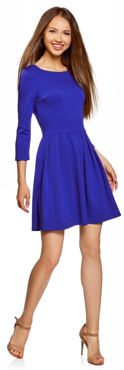 Платье oodji Ultra, цвет: синий. 14011005/38261/7501N. Размер M (46)14011005/38261/7501NПриталенное платье oodji Ultra с расклешенной юбкой выгодно подчеркнет достоинства фигуры и поможет создать стильный образ. Модель мини-длины с рукавами 3/4 и вырезом лодочкой выполнена из плотного трикотажа и застегивается на металлическую застежку-молнию на спинке.