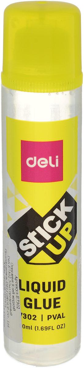 Deli Клей для бумаги и картона 50 млE7302Жидкий клей Deli с удобным аппликатором предназначен для склеивания бумаги и картона. Не содержит растворителя. Не оставляет следов и легко смывается водой.Объем: 50 мл.