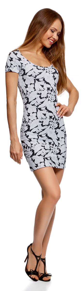 Платье oodji Ultra, цвет: черный, белый. 14001182/47420/2910F. Размер XS (42)14001182/47420/2910FБазовое облегающее платье с большим вырезом. Модель длиной ниже середины бедра. Короткий втачной рукав с двойной отстрочкой. Широкая круглая горловина отделана бейкой. Благодаря вырезу платье легко надевать. Мягкий трикотаж из натурального хлопка с незначительным добавлением эластана дышит, хорошо тянется и плотно облегает фигуру. Платье приятно для тела и не стесняет движений. Простой классический крой повторяет очертания силуэта. Облегающее платье прекрасно подойдет для фигур разного типа. Короткое трикотажное платье просто незаменимо в любом гардеробе. В нем можно пойти на дружескую встречу, прогулку по вечернему городу, в кино или кафе. В прохладную погоду сверху можно надеть жакет или укороченную куртку из кожи или замши. С платьем отлично сочетается обувь на каблуке - туфли-лодочки, босоножки, сандалии, ботильоны. С помощью неформальных кед или слипонов вы сможете создать спортивный и динамичный образ. Тоненький кожаный ремешок, оригинальный браслет или короткие бусы помогут завершить привлекательный лук. В таком платье вы будете чувствовать себя свободно и уверенно.