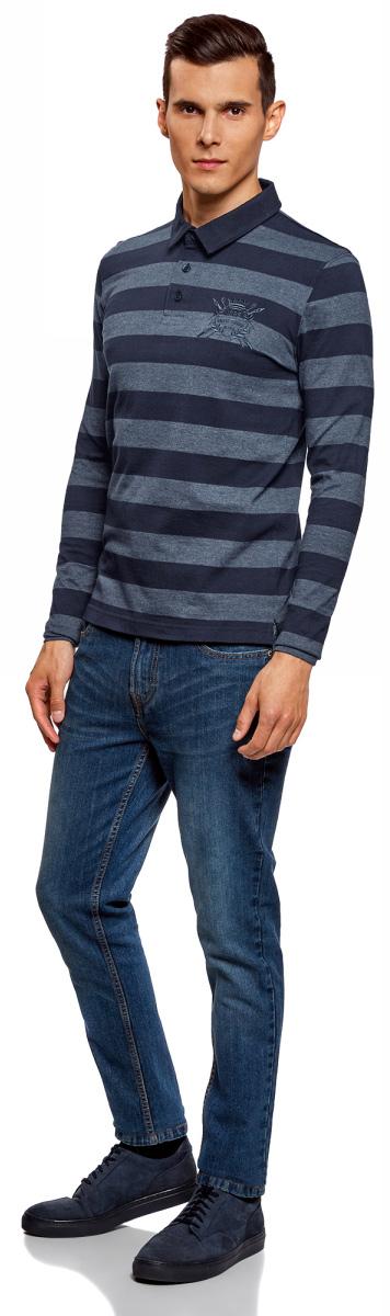 Поло мужское oodji Basic, цвет: темно-синий, синий. 5B411004M/47841N/7975S. Размер S (46/48)5B411004M/47841N/7975SПоло с длинными рукавами oodji выполнено из хлопка и полиэстера. Модель с отложным воротником сверху застегивается на пуговицы и дополнена оригинальной вышивкой на груди.