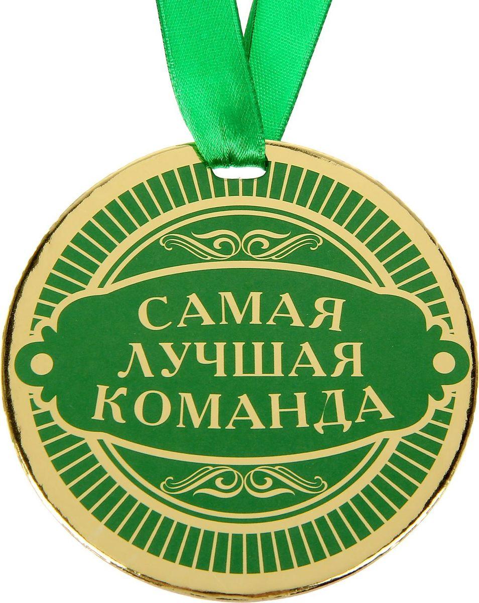 Медаль сувенирная Самая лучшая команда, диаметр 9 см1500733Медаль — один из самых популярных видов наград! Обрадуйте близких признанием их заслуг. Получателя приятно удивит яркий дизайн изделия: изображение золотого цвета, поздравительное стихотворение на обороте и лента, которая входит в набор.
