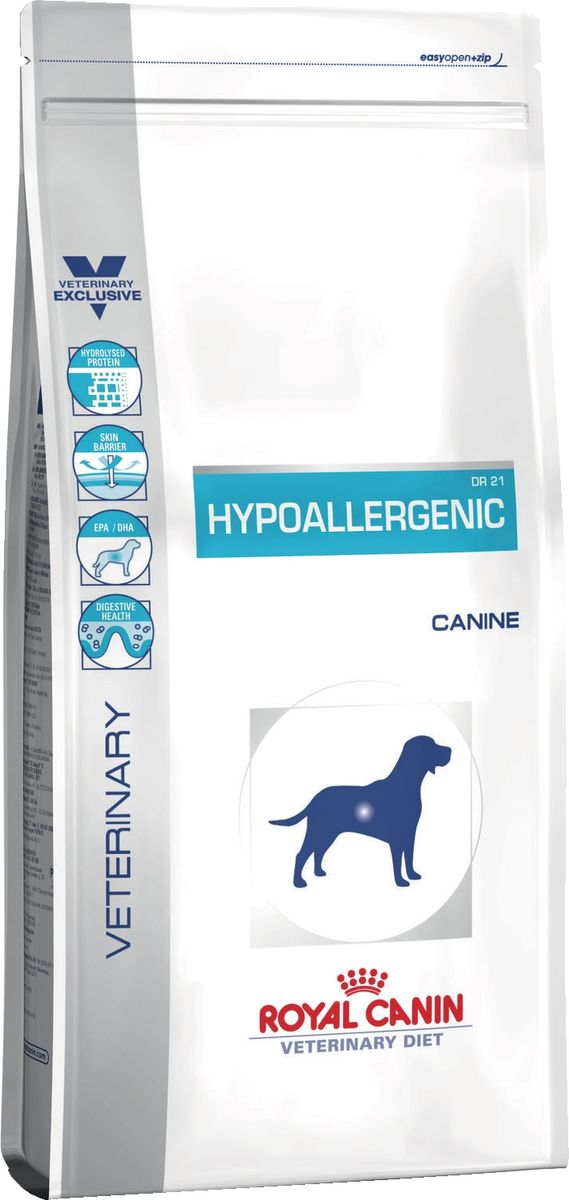 Корм сухой Royal Canin Vet Hypoallergenic DR21, для собак с пищевой аллергией или непереносимостью, 7 кг22314Сухой корм для собак с пищевой аллергией или непереносимостью. Состав: рис, гидролизат изолята белка сои, животные жиры, минеральные вещества, гидролизат печени птицы, свекольный жом, соевое масло, фруктоолигосахариды, рыбий жир, масло огуречника аптечного, экстракт бархатцев прямостоячих (источник лютеина). Питательные добавки: витамин A: 24800 ME, витамин D3: 800 ME, железо: 40 мг, йод: 3 мг, марганец: 53 мг, цинк: 202 мг - консервант: сорбат калия - антиокислители: пропилгаллат, БГА. Содержание питательных веществ: белки: 21 % - жиры: 19 % - минеральные вещества: 8,4 % - клетчатка пищевая: 1 % - В 1 кг: EPA/DHA: 3,4 г - основные жирные кислоты: 47 г - медь: 15 мг. Товар сертифицирован.