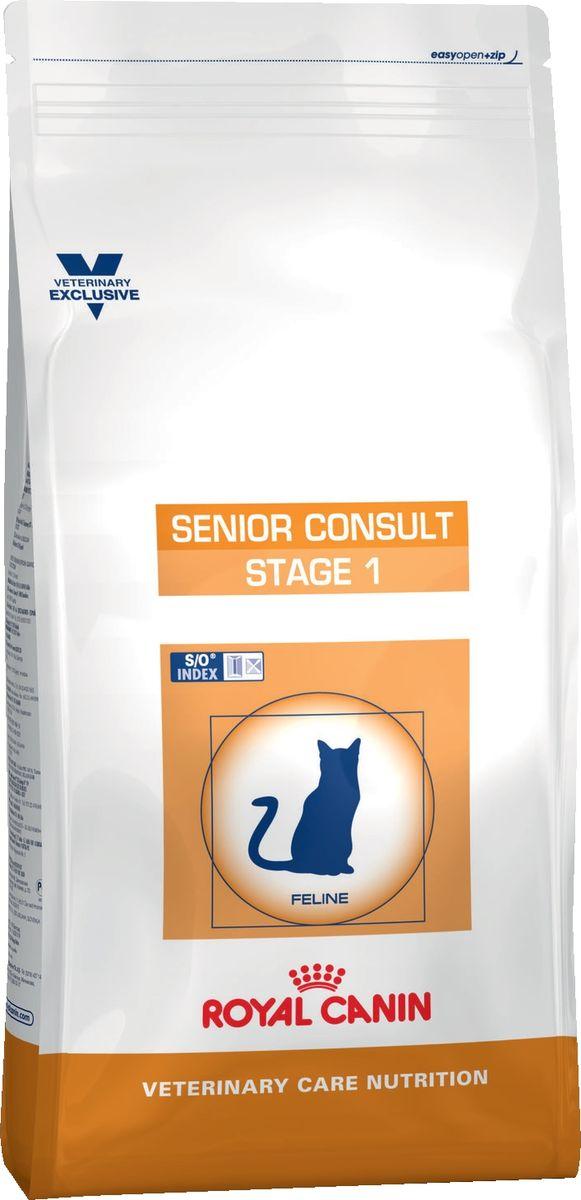 Корм сухой Royal Canin Vet Senior Consult Stage 1, для котов и кошек старше 7 лет, 400 г45027Сухой корм супер премиум класса для котов и кошек старше от 7 до 10 лет. Комплекс антиоксидантов синергичного действия (витамин С, витамин Е, лютеин, таурин) снижает уровень окислительного стресса. Умеренное содержание фосфора в лечебном корме позволяет поддерживать нормальную работу почек. Корм содержит белки, в которых представлены аминокислоты с разветвленными цепями, а также фосфатидилсерин. Калорийность корма соответствует потребностям в энергии взрослого животного, имеющего нормальный или недостаточный вес (ниже либо равно 3 баллам по шкале упитанности кошек). Знак S/O Index на упаковке означает, что диета предназначена для создания в мочевыделительной системе среды, неблагоприятной для образования струвитных кристаллов и кристаллов оксалата кальция. Показания: для котов и кошек старше 7 лет, не имеющих видимых признаков старения. Продукт подходит как для кастрированных/стерилизованных, так и для некастрированных/нестерилизованных котов и кошек. Противопоказания: не имеется. Ингредиенты: дегидратированные белки животного происхождения (птица), кукуруза, пшеничная клейковина, рис, растительная клетчатка, кукурузная клейковина, гидролизат белков животного происхождения, пшеница, экстракт цикория, животные жиры, рыбий жир, минеральные вещества, соевое масло, фруктоолигосахариды, оболочка и семена подорожника, гидролизат дрожжей (источник маннанолигосахаридов), гидролизат из панциря ракообразных (источник глюкозамина), экстракт бархатцев прямостоячих (источник лютеина), гидролизат из хряща (источник хондроитина). Состав: протеины - 36%, жиры - 10%, углеводы - 27,9%, клетчатка - 13,2%, таурин - 0,21%, Epa/Dha - 0,42%, кальций - 1,02%, фосфор - 0,8%, натрий - 0,7%, магний - 0,06%, калий - 0,7%, селен - 0,29 мг, медь - 15 мг, железо - 162 мг, цинк - 216 мг, витамин A - 24000 Ме, витамин D3 - 800 Ме, витамин E - 500 мг, витамин C - 200 мг, витамин B1 - 13 мг, витамин B2 - 46,9
