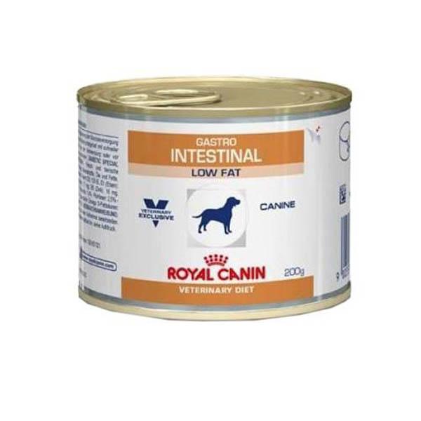 Консервы Royal Canin Vet Gastro Intestinal Low Fat, с ограниченным содержанием жиров, для собак при нарушениях пищеварения, 200 г59106Консервы Royal Canin Vet Gastro Intestinal Low Fat, с ограниченным содержанием жиров, для собак при нарушениях пищеварения.Состав: мясо и мясные субпродукты, злаки, субпродукты растительного происхождения, минеральные вещества, масла и жиры, дрожжи.Питательные добавки: витамин D3: 200 ME, железо: 8 мг, йод: 0,15 мг, марганец: 2,5 мг, цинк: 24 мг.Содержание питательных веществ:белки: 7,5 % - жиры: 1,7 % - минеральные вещества: 1,5 % - клетчатка пищевая: 1,7 % - влажность: 74 % - основные жирные кислоты: 0,3 %, в том числе основные жирные кислоты Омега 3 (EPA/DHA): 0,03 % - Медь: 5 мг/кг.Расстройства пищеварения у собак: кто виноват и что делать. Статья OZON Гид