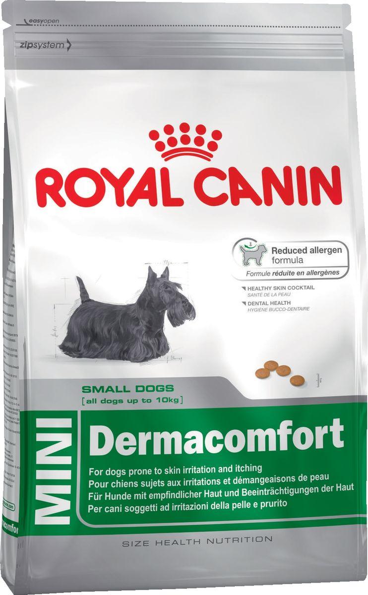 Корм сухой Royal Canin Mini Dermacomfort, для собак с раздраженной и зудящей кожей, 2 кг корм сухой royal canin mini light weight care для взрослых собак склонных к ожирению 2 кг