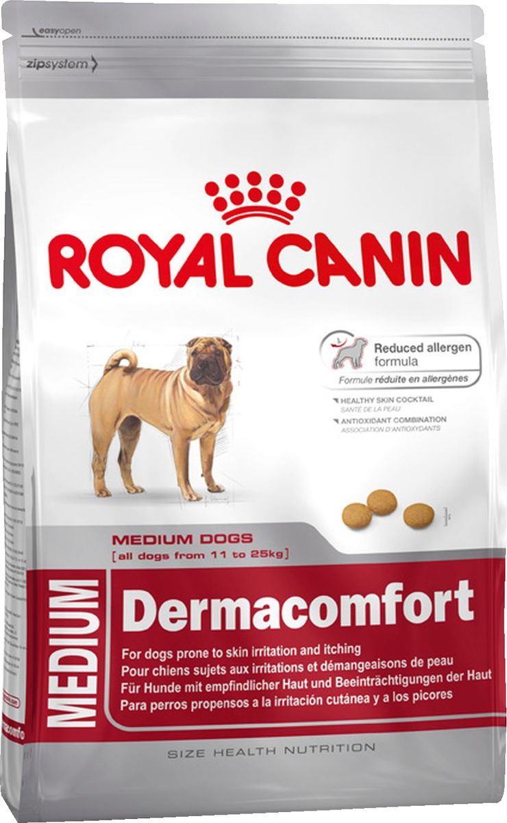Корм сухой Royal Canin Medium Dermacomfort, для собак, склонных к кожным раздражениям и зуду, 3 кг